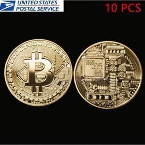 10x Gold Plated Bitcoin Coin Collectible Gift BTC Coin Art Collection Physical