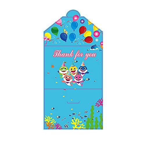 Beito 10Pcs Cartoon-Haifisch Isposable Geschirr-Einladungs-Karten-Geburtstags-Party-Babyparty-Mädchen-Junge-Thema-Geburtstags-Party Supplies
