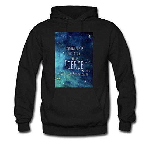 weileDIY Little & Fierce DIY Custom Women's Classic Hoodie Sweatshirt Black