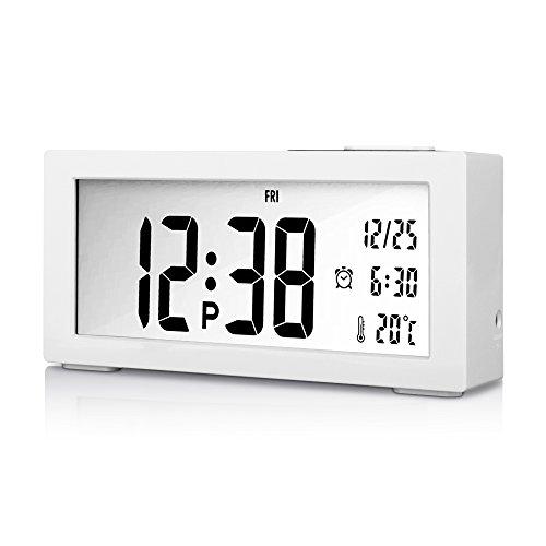 Goldfox Premium Klavierlack LCD Digital Wecker Uhr mit Datum Temperatur Kalender Snooze Nachtlicht Anzeige