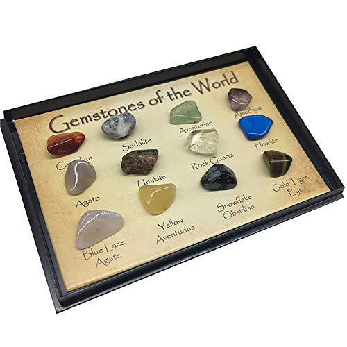 12 PC/sistema piedras preciosas Del Mundo minerales naturales brillantes Roca deslumbramiento Piedras Para la Escuela de Geología Educación Decoración regalo para los niños