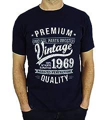 Idea Regalo - 1969 Vintage Year - Aged To Perfection - Regalo di Compleanno Per 50 Anni Maglietta da Uomo Blu Marino L