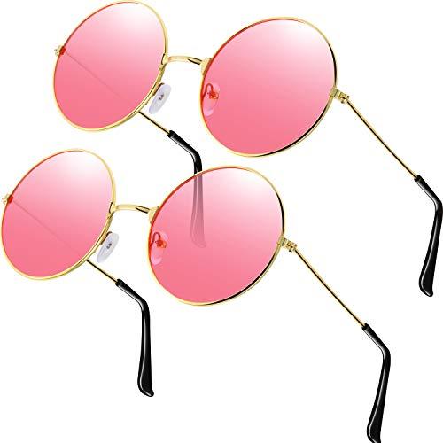2 Stück Brille Rosa Runde Hippie Brille Retro Hippie Brille Hippie Kostüm Brille Herren Damen - Große Runde Brille Kostüm