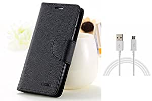 ASG Premium Flip Cover For Lenovo A6000 (Black)+ Data Cable (White)