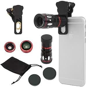 Kit di obiettivi per fotocamera 4 in 1 con pinza universale, zoom ottico 10x per telescopio + obiettivo a occhio di pesce + grandangolo + kit di lenti micro
