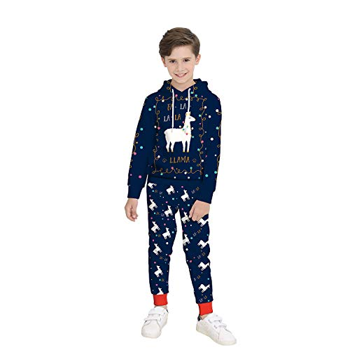 Weihnachtskostüm Für Kinder, 3D Christmas Elk Digitaldruck Langarm-Sweatshirt Für Kinder + Jogginghose Zweiteiler (Bestes Weihnachtsgeschenk),XL (Kostüm Kinder Santa Monica)