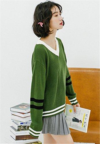 JOTHIN Piccolo fresco Maglieria Collo V Giuntura Maglioni Student Student Sweater Elasticizzati Basic Pullover Donna Verde