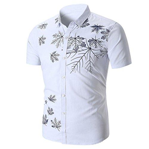 Herren Kurzarmhemd mit Print im Sommer GreatestPAK,Weiß,XL