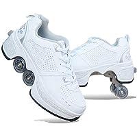 NOLLY Rolschaatsen, roller, skates, loopschoenen, sneakers, 2-in-1 multifunctionele schoenen met wieltjes, skateboardschoenen, inline skate, verstelbare Quad rolschoen laarzen