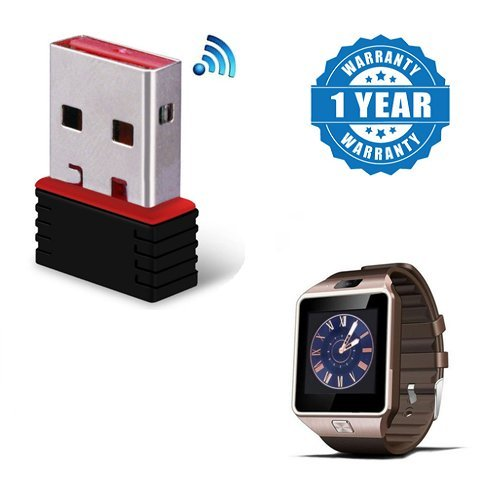 Captcha Certified USB 2.0 Wireless Mini Wi-Fi Network Adapter 300Mbps, 2.4Ghz With Dz09 Smart Watch With Bluetooth HD Touch FM Camera GSM Sim Slot For Mi Redmi Note 4G (1 Year Warranty)