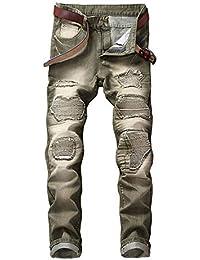 1361c9f8c48f Vdual Men's Straight Slim Fit Knee Ripped Pattern Patch Denim Punk Biker  Jeans