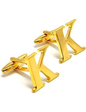 MESE London Buchstaben Alphabet Buchstaben Manschettenknöpfe Initiale - Buchstabe K Goldene