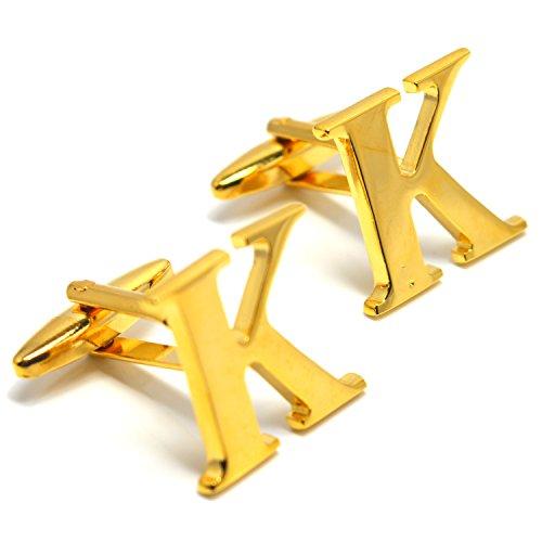 MESE London Buchstabe Name K Initiale Manschettenknöpfe 18 Karat Vergoldet in Luxus ()