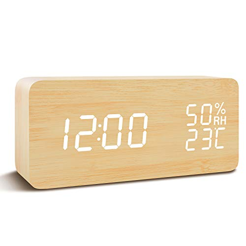 FiBiSonic Wecker Digitale Tischuhr LED Datum Feuchtigkeit Temperatur Holz Standuhr Bambus Weiß