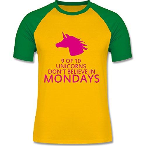 Nerds & Geeks - Einhorn - 9 of 10 unicorns don´t believe in mondays - zweifarbiges Baseballshirt für Männer Gelb/Grün