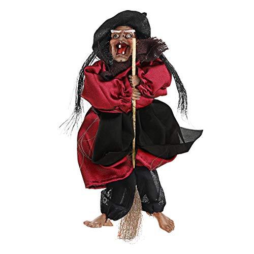 Bluelover 31Cm Halloween Hängen Animierte Reden Hexe Requisiten Lachen Sound Control Dekorationen - Rot