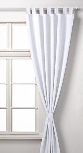Vorhang Blickdicht Matte unifarbene Gardine mit Schlaufen. Aus edlem Microsatin Micofaser-Gewebe. 225x140, Weiß, 20400