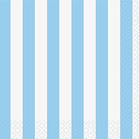 Unique Party - 37981 - Paquet de 16 Serviettes - Papier - Motif Rayé - 13 cm - Bleu Pastel