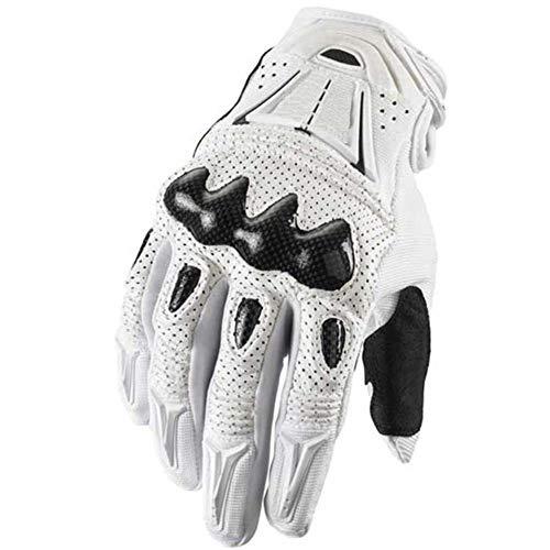 Wovemster Taktische Handschuhe Motorrad Herren Vollfinger Mit Gepolstertem Rückenseite Geeignet Für Outdoor Sports Ritter Motorrad Motocross,XL(White) -