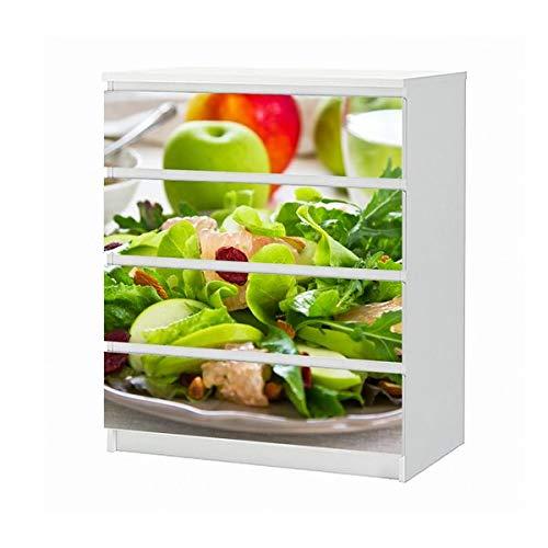 Set Möbelaufkleber für Ikea Kommode MALM 4 Fächer/Schubladen grüner Salat Apfel Obst Küche Diät Aufkleber Möbelfolie sticker (Ohne Möbel) Folie 25B121