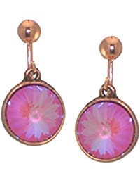 RIVOLI Antik Kupfer Ultra Rosa Swarovski Crystal-Clip auf Ohrringe