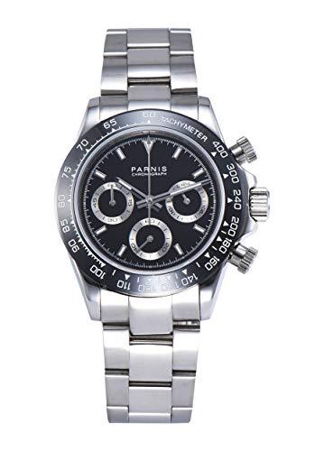 PARNIS Modell 2176 Herrenuhr-Chronograph 40mm Saphirglas Armbanduhr 316L-Edelstahl 5BAR MIYOTA Markenuhrwerk Edelstahl-Armband