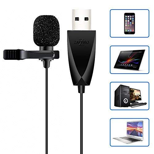 USB Mikrofon, Zaffiro Omnidirektionaler Kondensator Lavalier Clip On Mic f¨¹r Computer, Laptop, Podcast, Mac,PS4,Interviews, Netzwerksingen, Skype, MSN, Audio Video Recording
