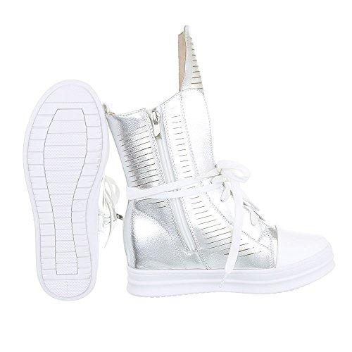 High-Top Sneaker Damenschuhe High-Top Keilabsatz/ Wedge Sneakers Reißverschluss Ital-Design Freizeitschuhe Silber