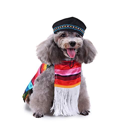 POPETPOP Cinco De Mayo Hundekostüm-Mexikanisch Sarape Pet Kostüm Sombrero Hund Poncho Mariachi Welpen Taco mit Hundekappen-Geeignet für kleine und mittelgroße Hunde (Größe L)
