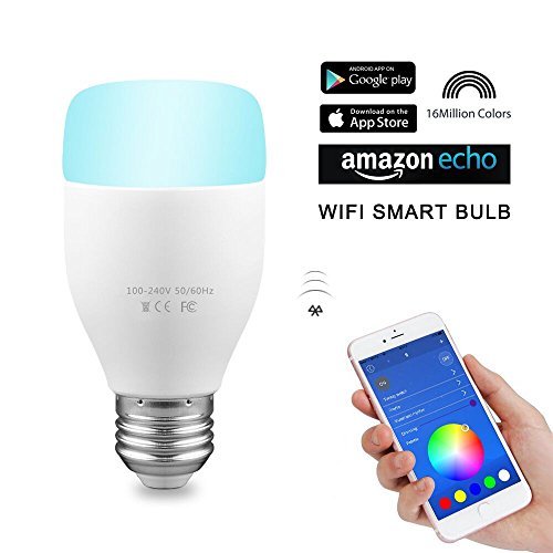 AOZBZ WiFi Smart LED Light Bulb with Alexa Control, 6W E27 RGB Multicolored Bulbs Dimmable Lights, Remote Control Intelligent Bulb Controlled by Amazon Echo and APP for Android iOS ( Lamp Changing with Music Rhythm )