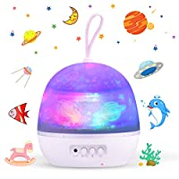 Star Night Light Projector for Kids - Baby Bedside Night Lamp Starry Ocean Wave Rotation Project, 4 Theme 8 LED Colors, USB or Battery Powered, Christmas/Birthday Gift