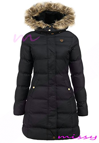neu übergröße damen PUFFA Kunstpelz GEPOLSTERT Damen Jacke mantel schwarz Größe 8 10 12 14 16LONG Schwarz