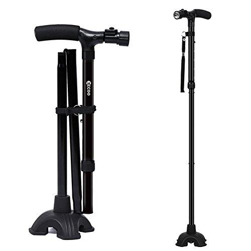 Muleta Plegable Ligero Muleta Ajustable para Caminar con Estable Base de Cuatro Patas y LED Linterna para Adultos Ancianos Hombre y Mujer(Una Manija)
