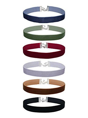 6/ 8 Zoll Damen Samt Choker Halsketten Klassisch Halsband Halsreifen Set, 6 Stück