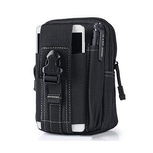 fourHeart Taktische Tasche Molle Gürteltasche Hüfttaschen mit Handy Holster für iPhone 6 Plus, Kompaktes EDC Dienstprogramm (Schwarz) Das beste Geschenk zum Valentinstag Tac Weste Beutel