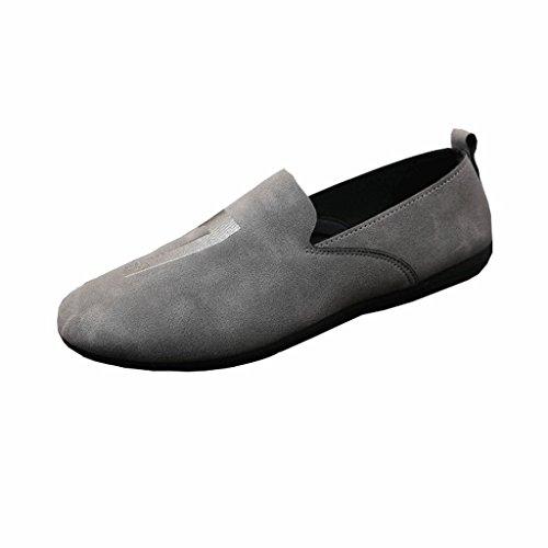 LIUXUEPING Sommersaison Koreanische Version Gesellschaft Guy Schuhe Neu Erbsenschuhe Alte Peking-Stoffschuhe Faule Herrenschuhe (Farbe : Brown, Größe : 42)