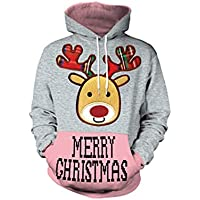 SWEAAY Ugly Christmas Hooded Sweater Pullover Hombres Mujeres 3D Impresión Digital Otoño Invierno Tops Ropa, M