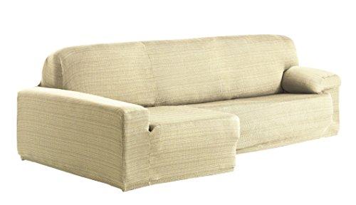 Eysa Aquiles Élastique Chaise Longue Gauche, Vue frontale, Polyester Coton, Écru, 43x37x14 cm