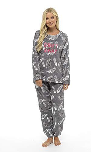 Pijama Mujer Invierno Suave Cómodo con Plumas Prosecco Estrellas Vario Estilos Pijamas Invernal Regalo para Ella (impresión de la pluma gris, L)