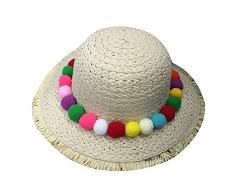 ACVIP Kids Girl's Dome Crown Straw Sun Hat With Pam Pam Ball Band