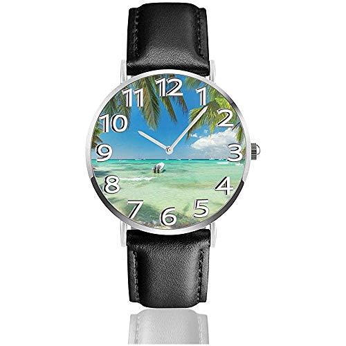 Caribbean Palm Boat Reloj de Cuero Relojes de Pulsera Unisex Reloj de Cuarzo de diseño Fresco