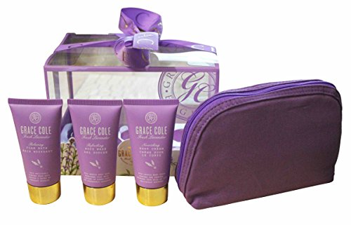 Grace Cole frais Lavender 4 - Pc Set for Her : Bain moussant + Body Wash + crème + Sac