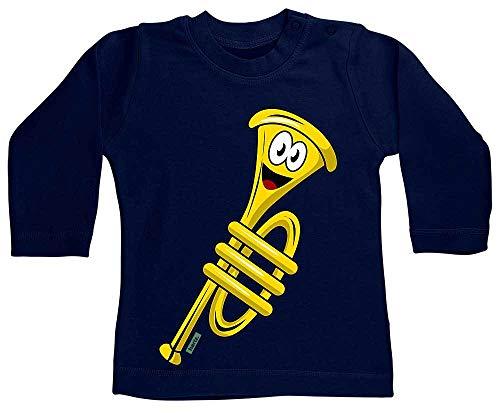 HARIZ Baby Shirt Langarm Trompete Lachend Instrument Kind Lustig Plus Geschenkkarte Matrosen Dunkel Blau 3-6 Monate (T-shirt Dunklen Womens Lustig)