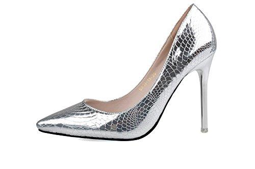 AalarDom Damen Pu Leder Stiletto Ziehen Auf Spitz Zehe Pumps Schuhe Silber