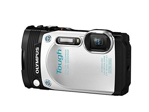"Olympus TG-870 Tough - Cámara compacta acuática de 16 MP (pantalla de 3"", zoom óptico 5x, estabilizador mecanico de 5 ejes, vídeo Full HD a 60fps, WiFi), blanco"