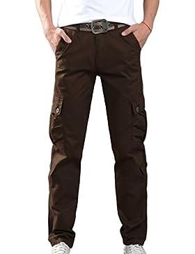 Sentao Hombre Vintage Multi Bolsillos Militar Cargo Pantalones Casual Clásico Pantalones Largo