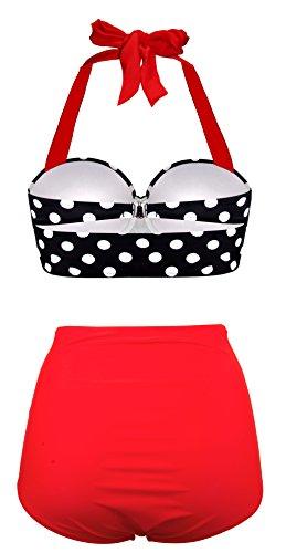 EasyMy Damen High Taille Bikini Sets Vintage Bademode, Schwarz, EU 42-44Tag Size 2XL - 3