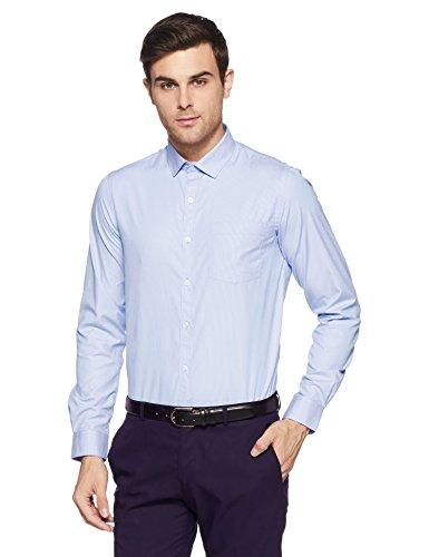 Excalibur EX Men's Solid Regular Fit Formal Shirt (276307927 Blue 40)