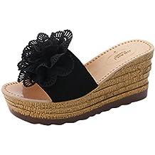 LuckyGirls Cuñas Sandalias Mujer Verano Zapatos de Tacón Floral Chancleta Moda Chanclas Playa Vacaciones Casual Zapatillas