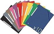 OXFORD Topfile+ Lot de 10 Chemises Cartonnées 3 Rabats Format A4 Fermeture Elastiques Coloris Assortis